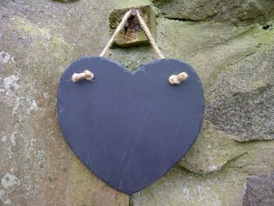 Welsh Slate Heart Memo Board
