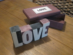 LOVE - Boxed Rustic Wooden Blocks - Red and Black